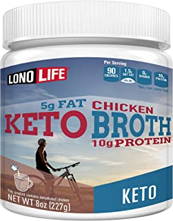 product image for LonoLife Keto Chicken Bone Broth, 5g Fat, 10g Protein, Paleo and Keto Friendly, 8oz Bulk Container, 12 Servings