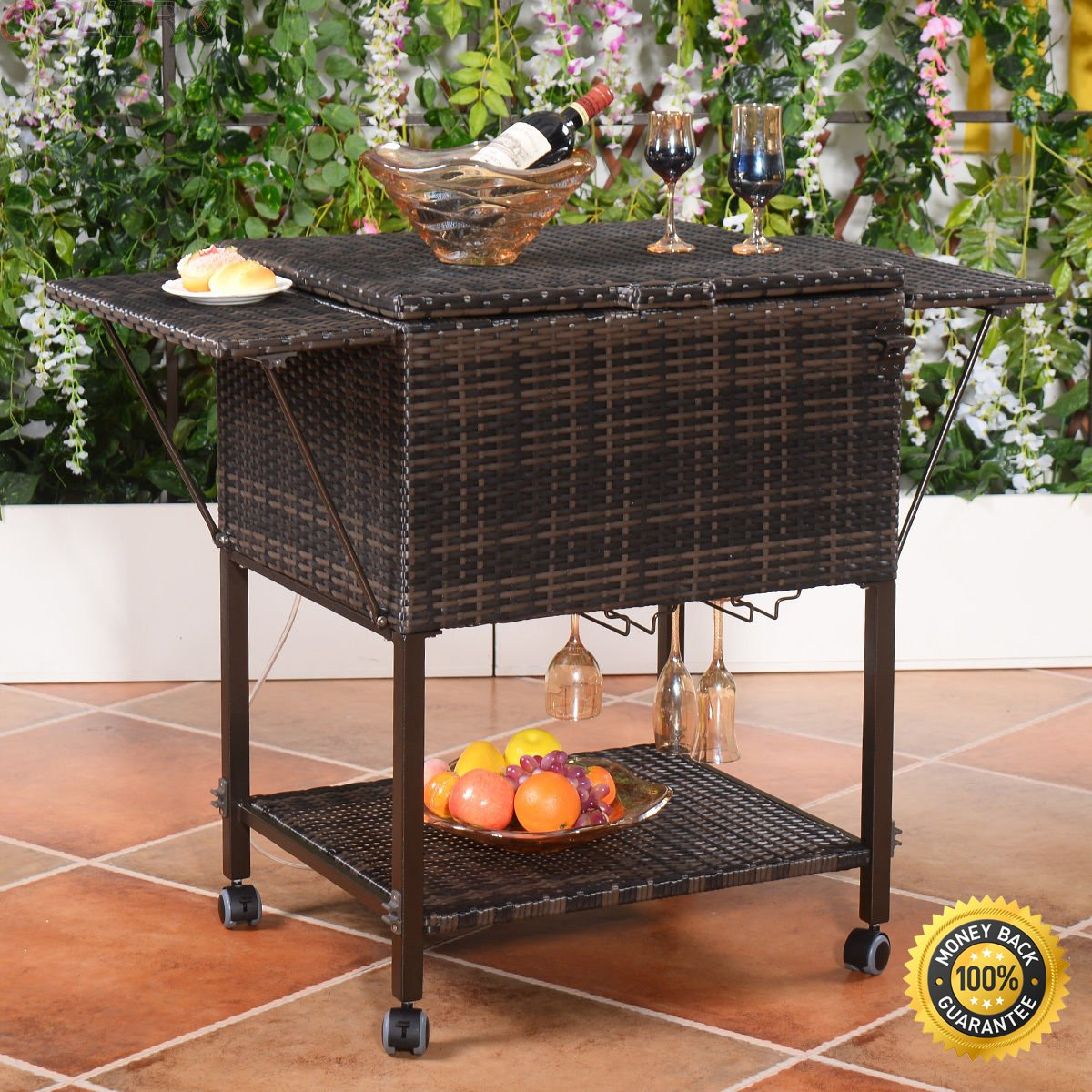 COLIBROX--Portable Rattan Cooler Cart Trolley Outdoor Patio Pool Party Ice Drink Mix Brown. PE Rattan Wicker And Iron Frame Lightweight Yet Durable And Stable Construction,