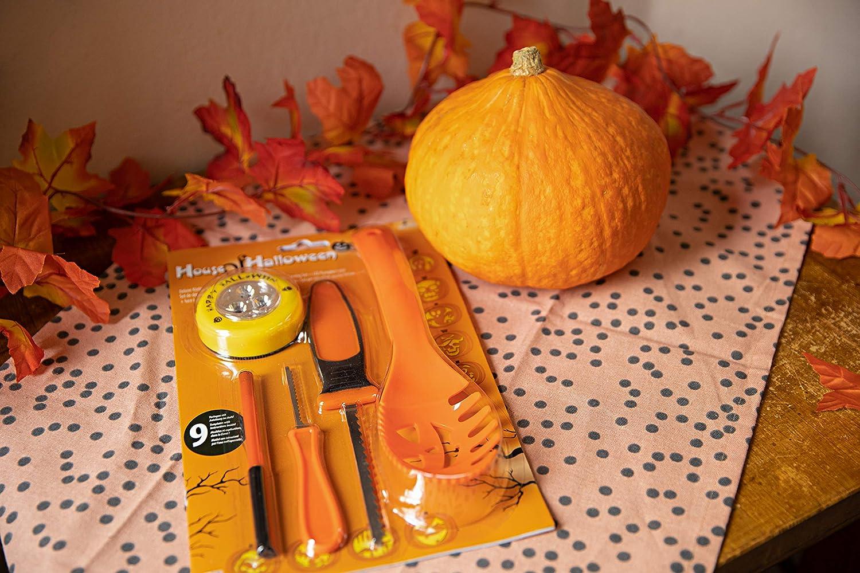 Orange 4 Teiliges Kissenbezugs Set Halloween Kürbisschädel