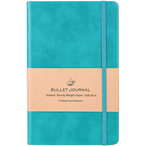Dotted Bullet Grid Journal - Dot Grid Hard Cover Notebook, Premium Thick Paper with Fine Inner Pocket, Mint Smooth Faux Leather, Christmas Gift, 5''×8.25''
