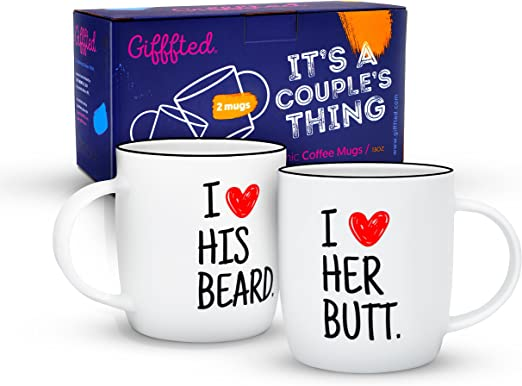 Engagement Gifts For Him and Her His and Hers Anniversary Present Husband and Wife I Like His Beard I Like Her Butt Couples Funny Coffee Mug Set 11oz Unique Wedding Gift For Bride and Groom