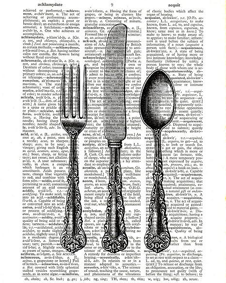 Cuchillo tenedor cuchara cubiertos diccionario Impresión Vintage decorativo cocina ilustración upcycled diccionario página pared arte