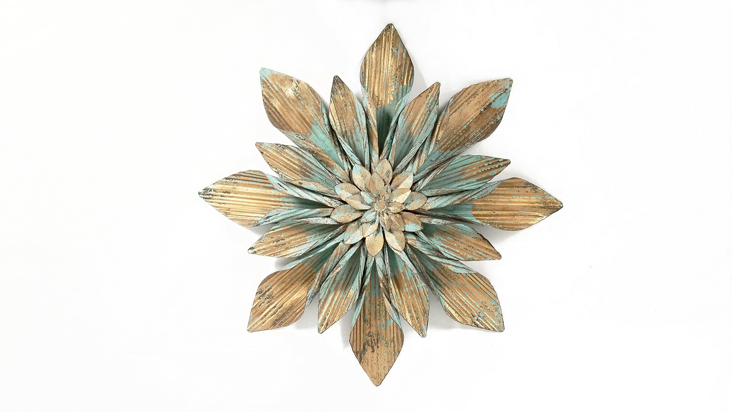 Everydecor Copper and Turquoise Flower Metal Wall Decor