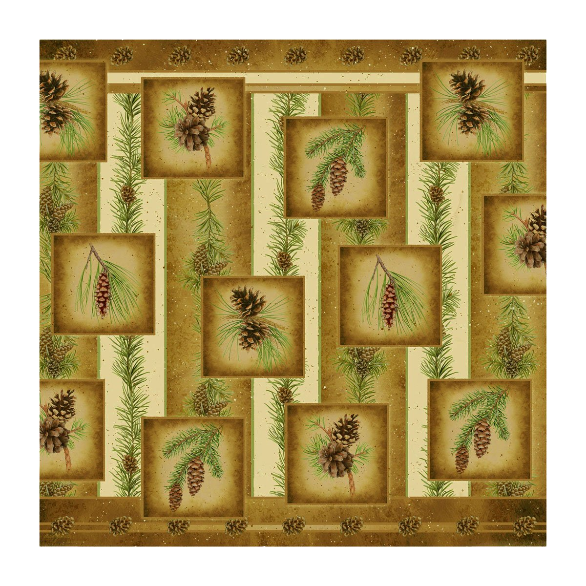 "Pine Cone Nature 70"" Fabric Machine Washable Bathroom Shower Curtain"