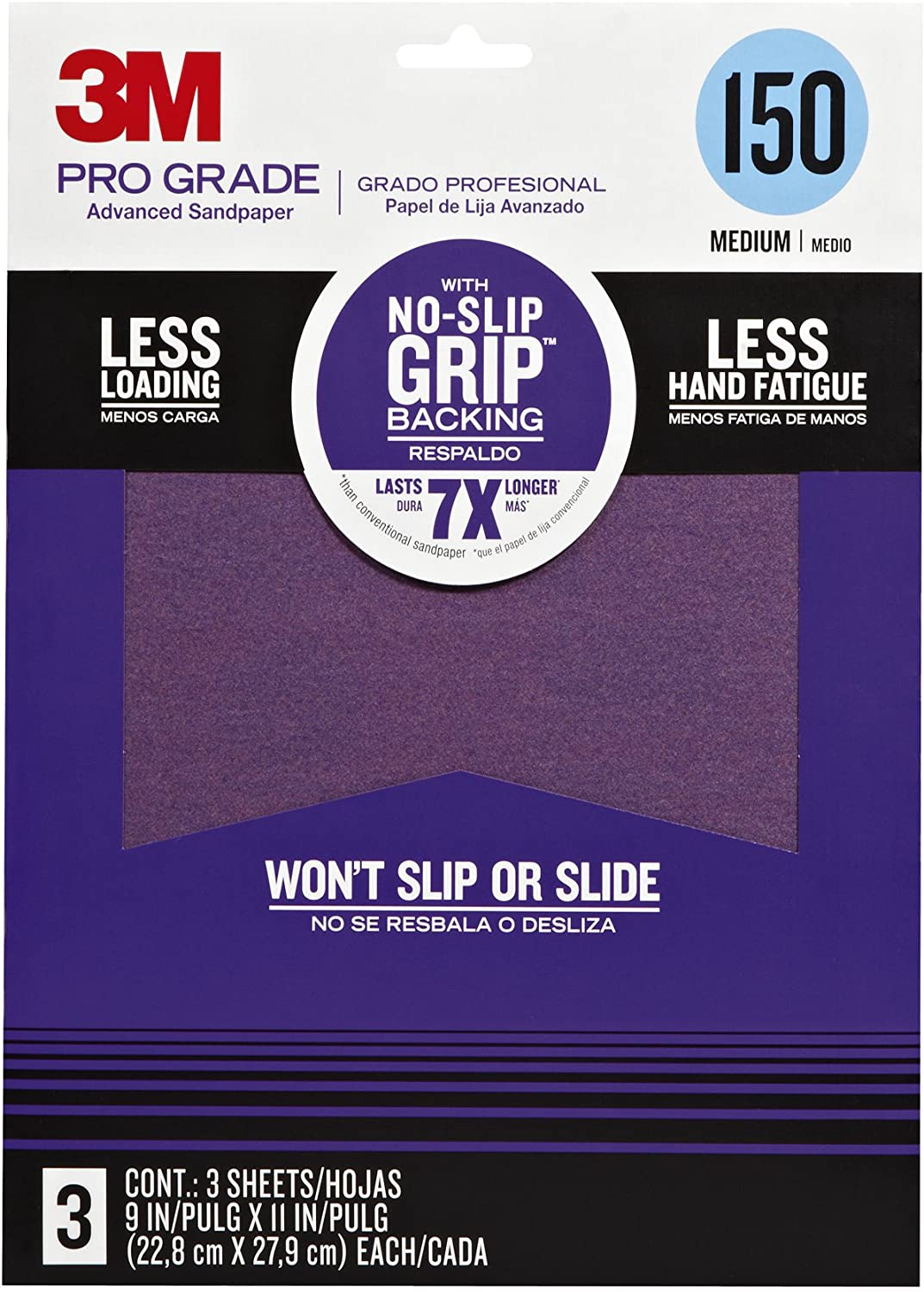 3M 25150P-G Pro Grade No-Slip Grip Advanced Sandpaper, 9 X 11-Inches, 150 Grit. 3/Pack 81G9-yEx6mL