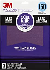 3M Pro Grade No-Slip Grip Advanced Sandpaper, 9 X 11-in, 150 Grit, 3/Pack, 25150P-G