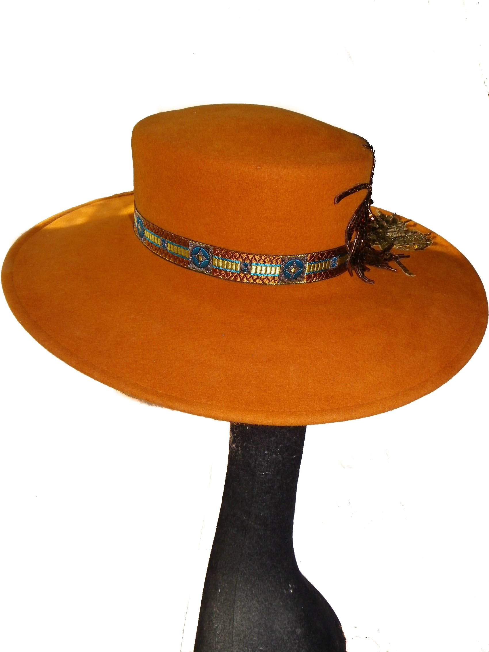 Style Of Individuality Wide Brim Wool Felt Hat In FALL'S Pumpkin, West's Turquoise, With Sparkles! by Style Of Individuality (Image #4)