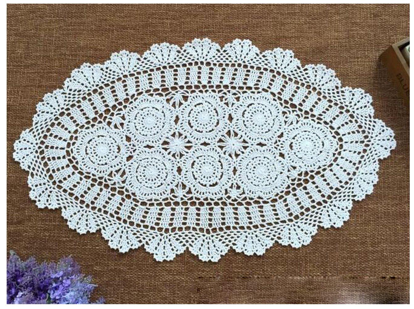 Amazon.com: wchuang Oval Crochet encaje de algodón Manteles ...
