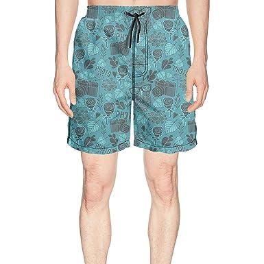 378400479c truye rrelk Patterned Blue owl Glasses with Camera Quick Dry Men's Beach Swim  Shorts