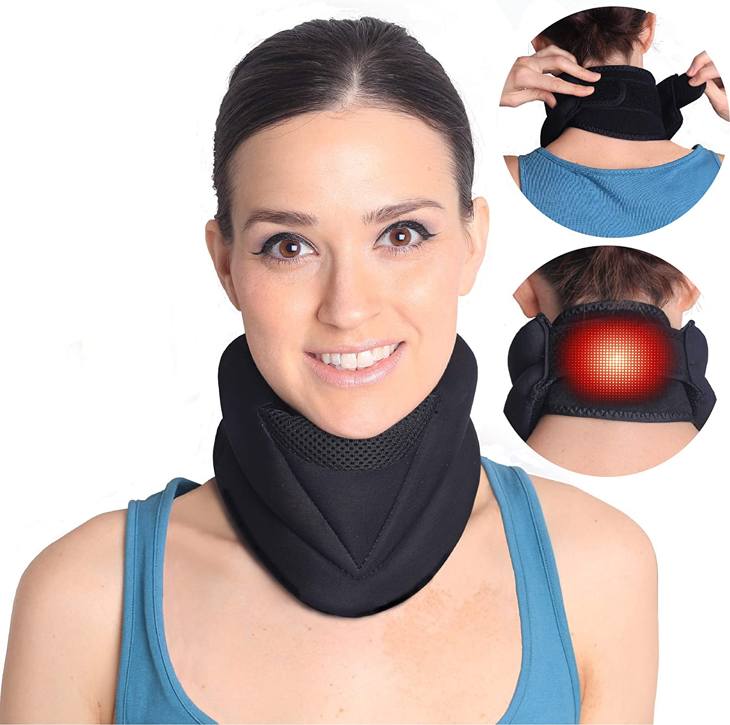 Magnetic Electric Heating Neck Brace for Neck Pain and Support- Cervical Collar Traction Device-Neck Warmer for Stiff Neck- 3 in 1 Support that Relieves Pain, Stress, Anxiety and Headache.