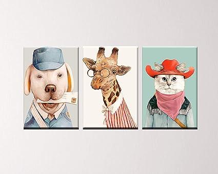 5bc9505d PulsatingFingertip 3 Panel Decorative Modern Cat Oil Painting Dog Wall Art  Giraffe Canvas Deer Canvas Prints
