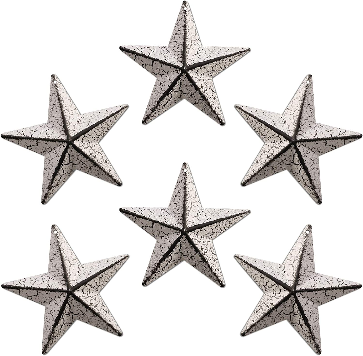 WKHOMEDECO Metal Barn Star/Metal Star for Outside Texas Stars Art Rustic Vintage Western Country Home Farmhouse Wall/Door Decor, 4-Inch, Set of 6. (Crackle white)…