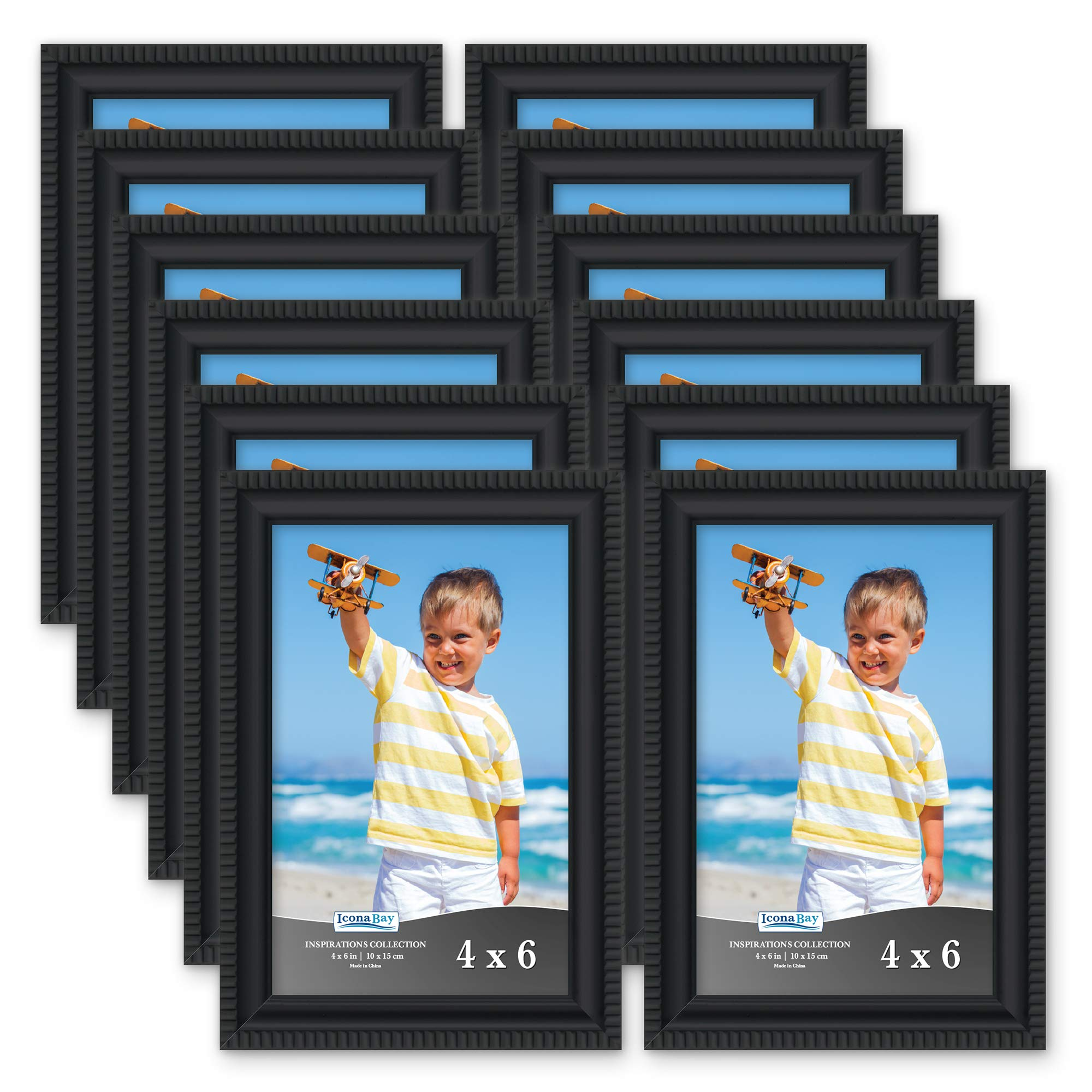 Icona Bay 4x6 Picture Frames (12 Pack, Black) Picture Frame Set, Wall Mount or Table Top, Set of 12 Inspirations Collection by Icona Bay