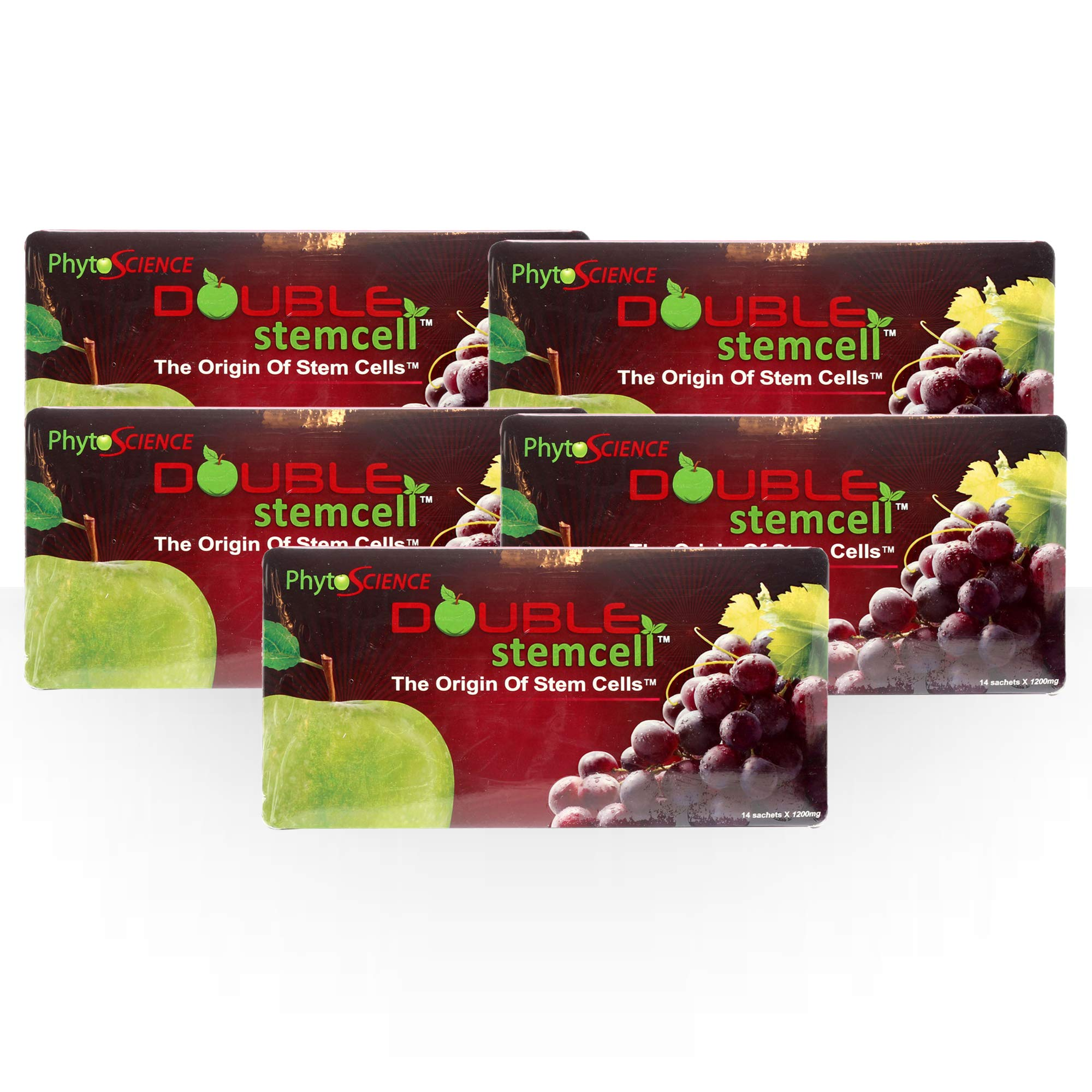 Phytoscience Apple Grape Double Stemcell 4 Packs Free 1 Packs (Origin Stem cell Swiss Quality Formula) by PhytoScience