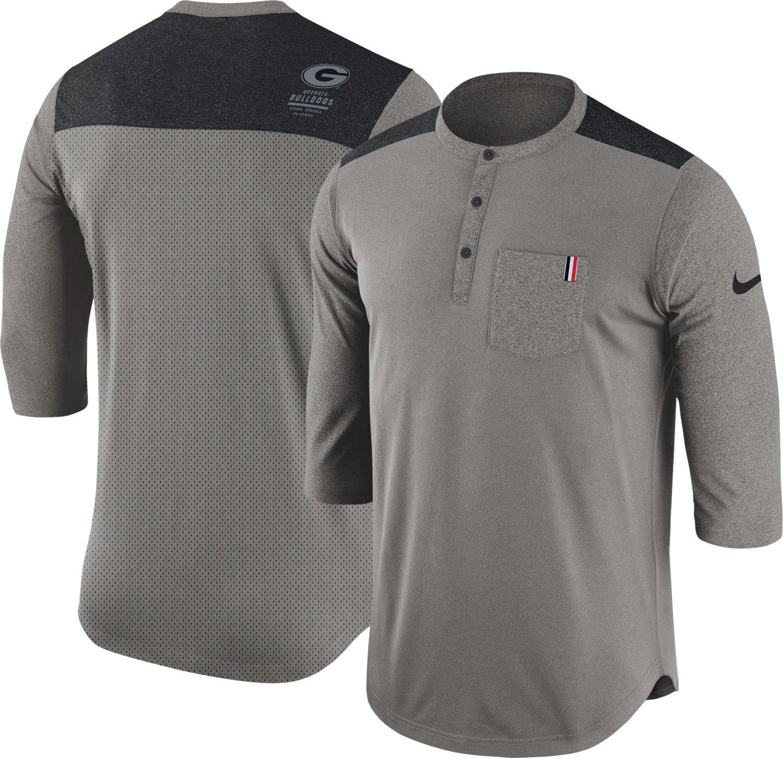 Nike Hombres de Dri-FIT Gris Georgia Bulldogs Henley - Camiseta ...