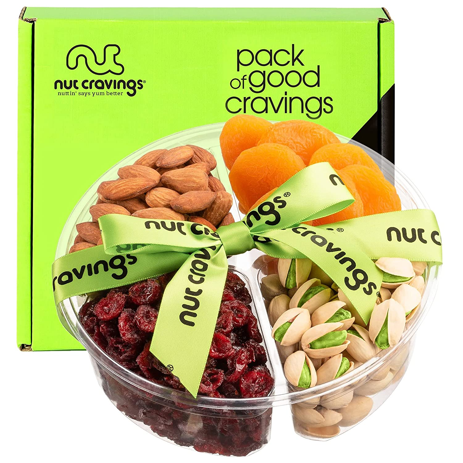 Dried Fruit & Nut Gift Basket + Green Ribbon (4 Piece Assortment) - Fathers Day Prime Arrangement Platter, Birthday Care Package Variety, Healthy Food Tray, Kosher Snack Box for Mom, Women, Men, Adult