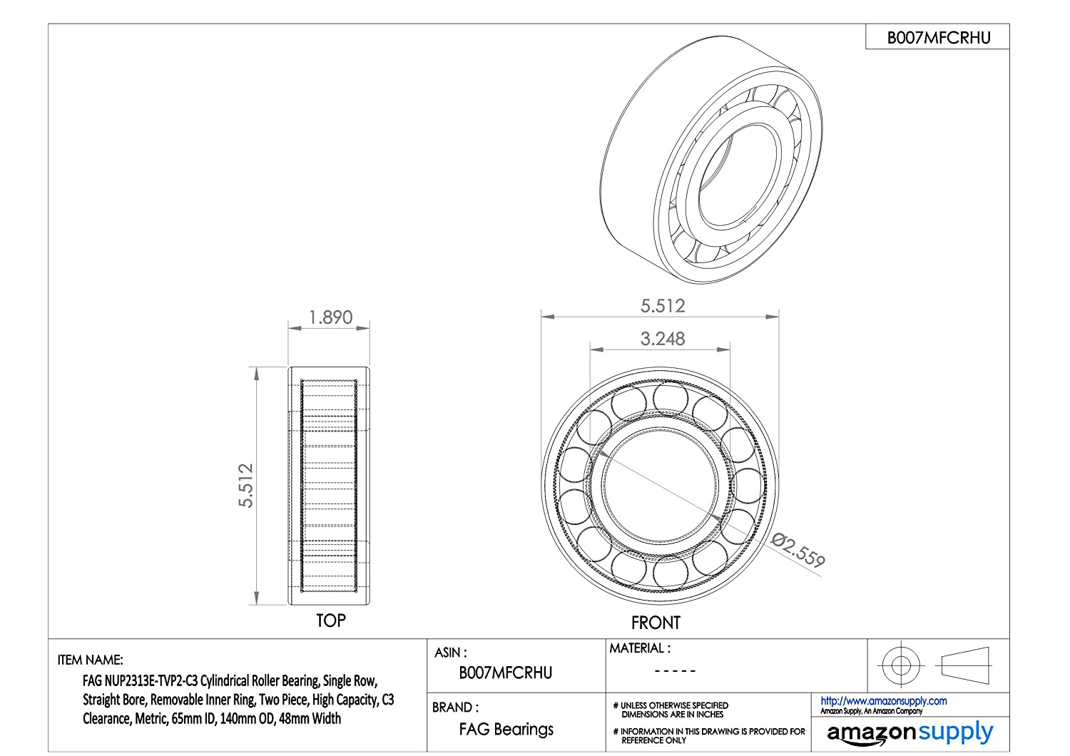 Metric NUP2314ETVP2C3 High Capacity C3 Clearance Single Row Two Piece 150mm OD Straight Bore 51mm Width Schaeffler Technologies Co 70mm ID FAG NUP2314E-TVP2-C3 Cylindrical Roller Bearing Removable Inner Ring