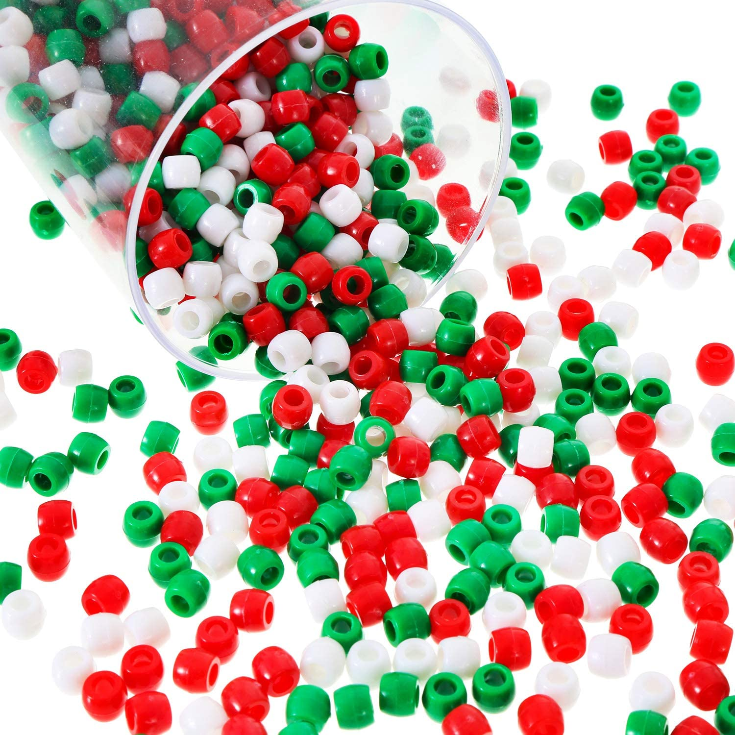 1000 Pieces Plastic Pony Beads Assorted Opaque Pony Beads Christmas Round Beads with Storage Box for Home Decor Craft (Red Green White)
