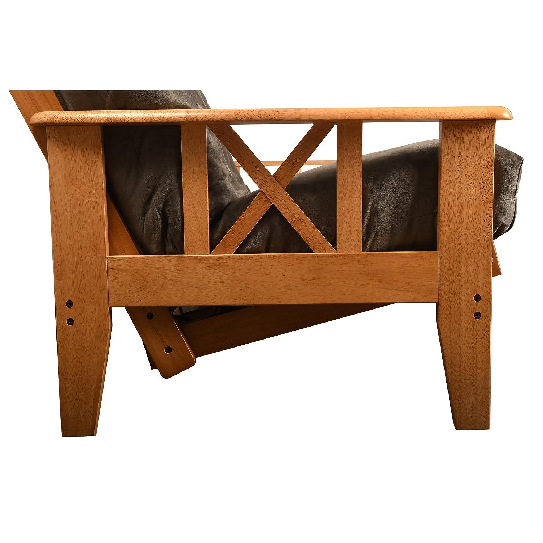 Jerry Sales Futon Complete w Drawer Set Eldorado Medium Oak Frame w Mattress 8 Innerspring Sofa Bed Set Beige