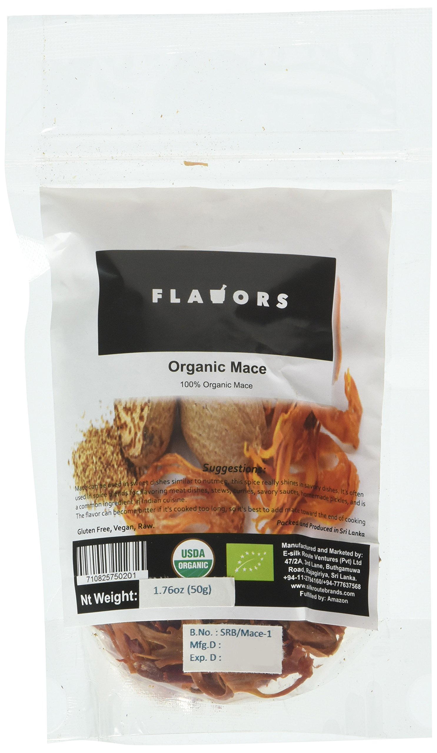 100% Organic Mace- USDA Certified - 50g x 3 Re-zippable Stand-Up Pouch!