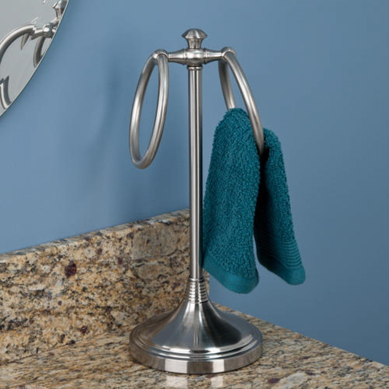 Naiture Steel Free Standing Countertop Towel Ring In Brushed Nickel Finish 50%OFF
