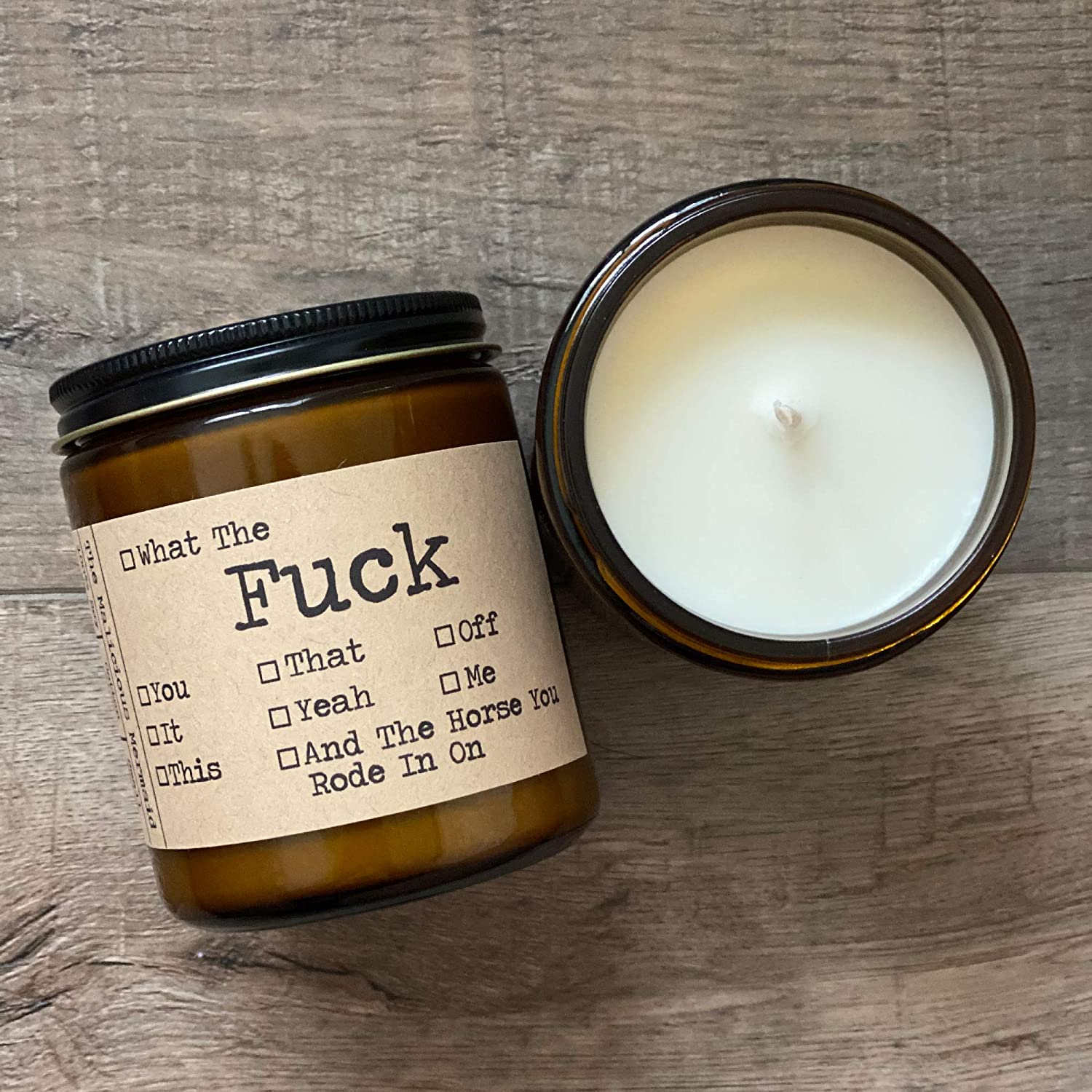 Scented Candles For Women And Men The Malicious Mermaid Made in USA Snarky Candles Amber Jar Candle Premium Soy Wax Candle All The Fucks