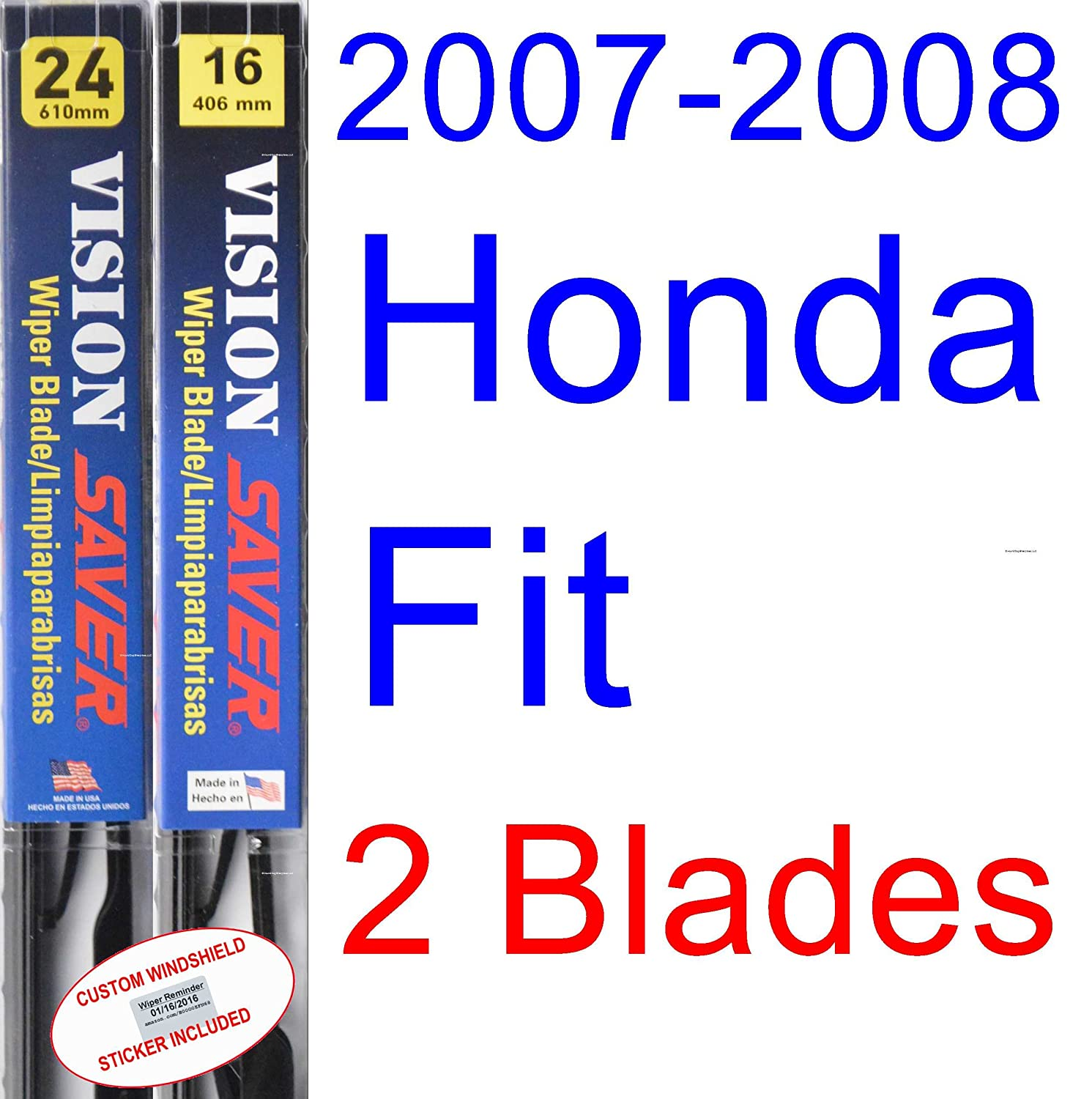 Amazon.com: 2007-2008 Honda Fit Replacement Wiper Blade Set/Kit (Set of 3 Blades) (Saver Automotive Products-Vision Saver): Automotive