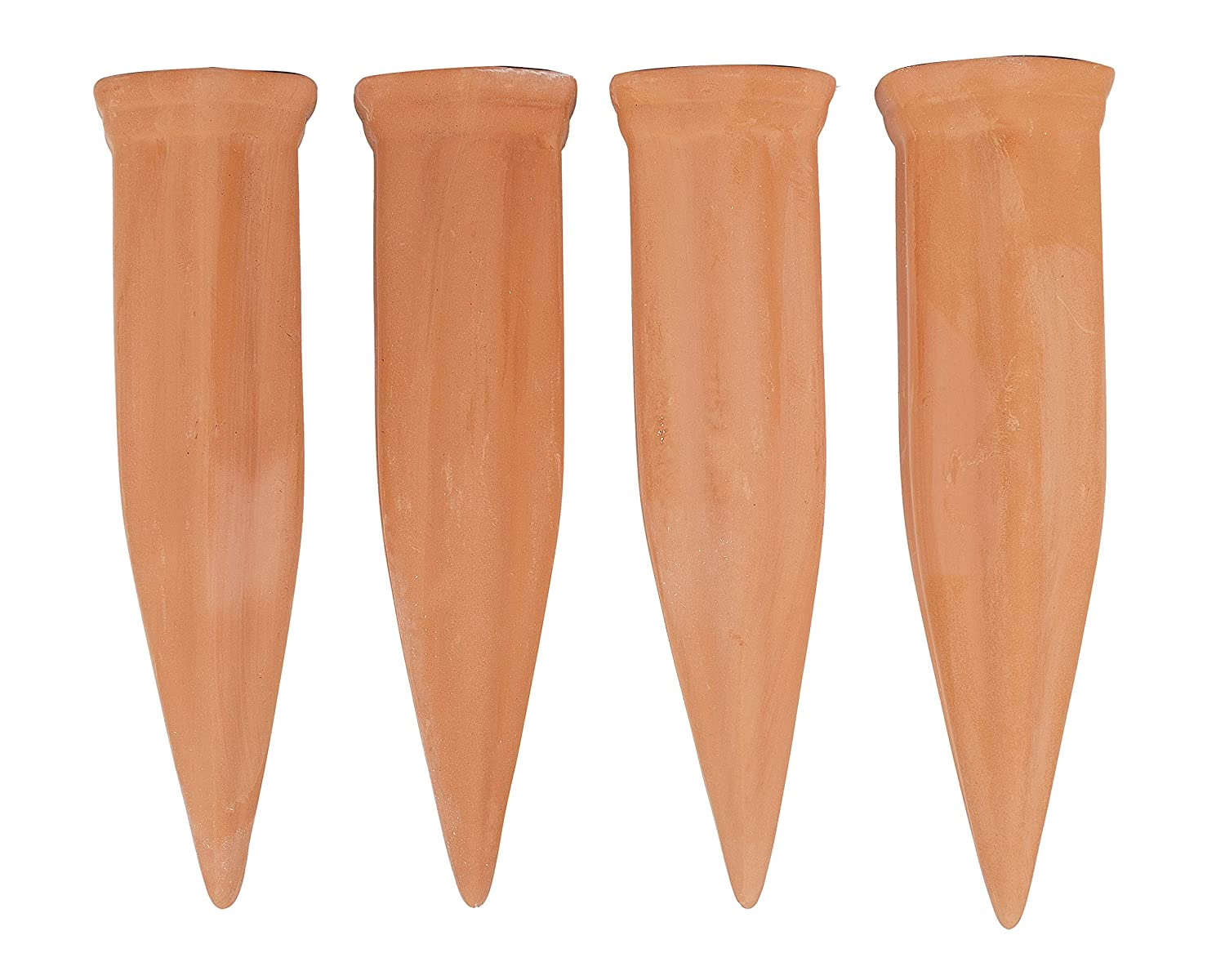 Set of 8 Stakes Garden Wealers Clay Self- Plant Watering Device Irrigation System Spikes Automatic Portable Ceramic Terracotta Water Bottle Stakes for House Plants Outdoor Indoor