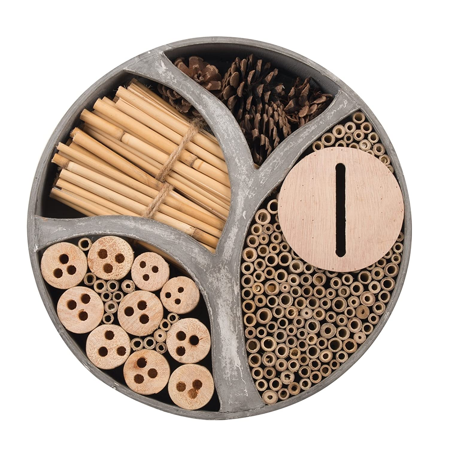 Gardigo 90567 - Natural Wooden Round Insect Hotel; Nesting/Hibernating Home; Bugs, Bees, Wasps, Butterflies House; Gift Idea; 30 x 30 x 6,5 cm