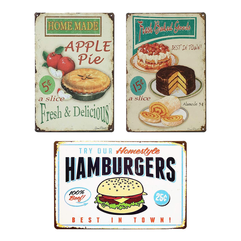 "UNIQUELOVER Vintage Food Signs, Cupcake, Apple Pie & Hamburger Retro Vintage Metal Plaque Poster for Cafe Bar Pub Beer Club Home Wall Decor Art 12"" x 8""/30 x 20cm"