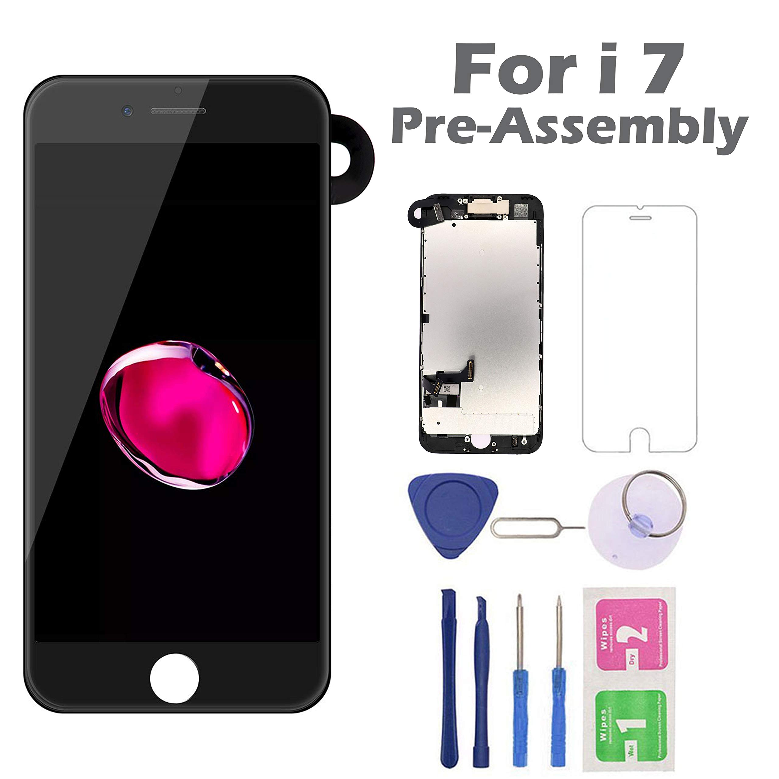 for iPhone 7 Screen Replacement, Arotech Pre-Assembled 4.7 Inch LCD 3D Touch Display Digitizer Assembly Kit with Repair Tool, Compatible with A1660, A1778, A1779 All Version (Black) by Arotech