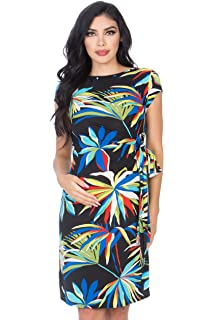 48c5e3e3c7d My Bump Women s Various Print Side Bow Tie Cap Sleeve Maternity Dress(Made  in USA
