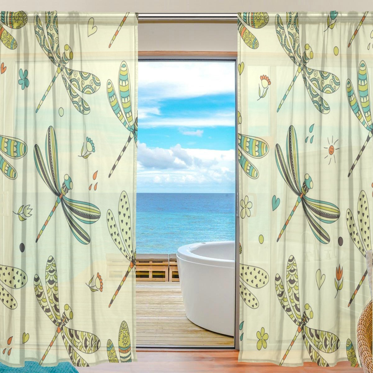 SEULIFE Window Sheer Curtain Animal Dragonfly Pattern Voile Curtain Drapes for Door Kitchen Living Room Bedroom 55x84 inches 2 Panels