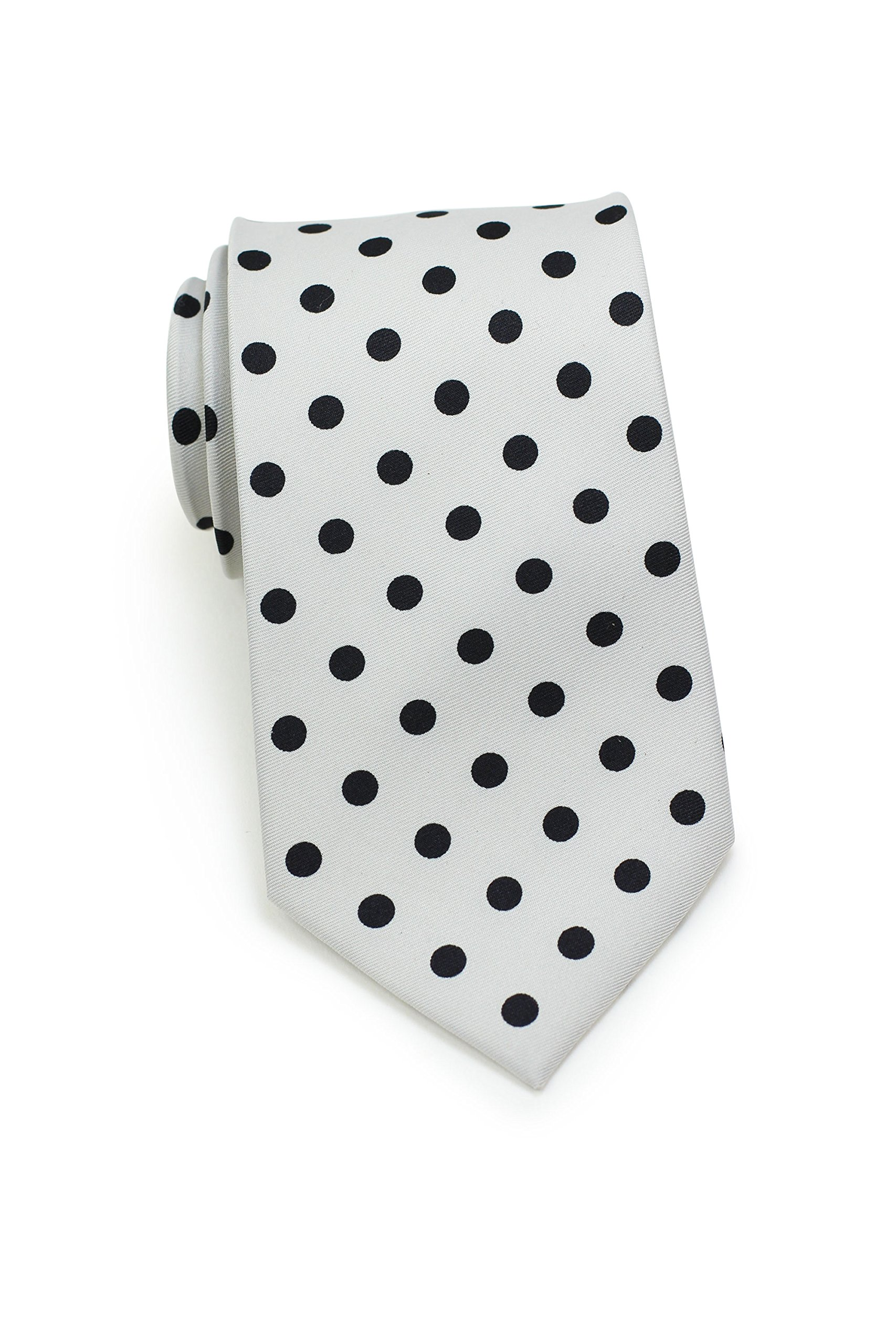 Bows-N-Ties Men's Necktie Bold Polka Dot Microfiber Satin Tie 3.1 Inches (Silver and Black)