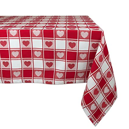 DII Valentineu0027s Day Red U0026 White Checkered Hearts 100% Cotton Tablecloth (52  X 52