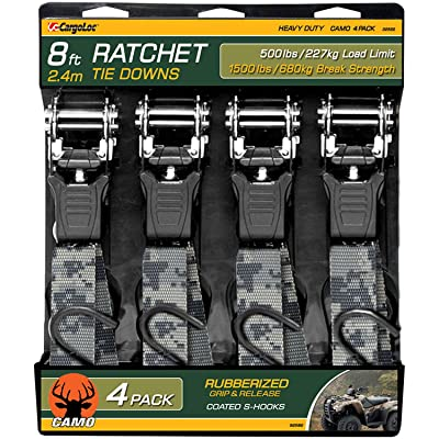 CargoLoc 32582 Ratchet Tie Down, 1-Inch x 8-Feet x 1500-Pound, 4-Piece