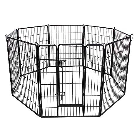 FEANDREA Jaula Valla para Perros, Corral Plegable para Cachorros, Conejos y Otras Mascotas Negro 80 x 100 cm PPK81H: Amazon.es: Productos para mascotas