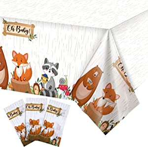 3 Pieces Animal Safari Tablecloth Plastic Woodland Table Covers Jungle Theme Rectangular Wild Zoo Party Table Cloth for Kids Birthday Supplies Dining Room Kitchen Decor, 54 x 108 Inch