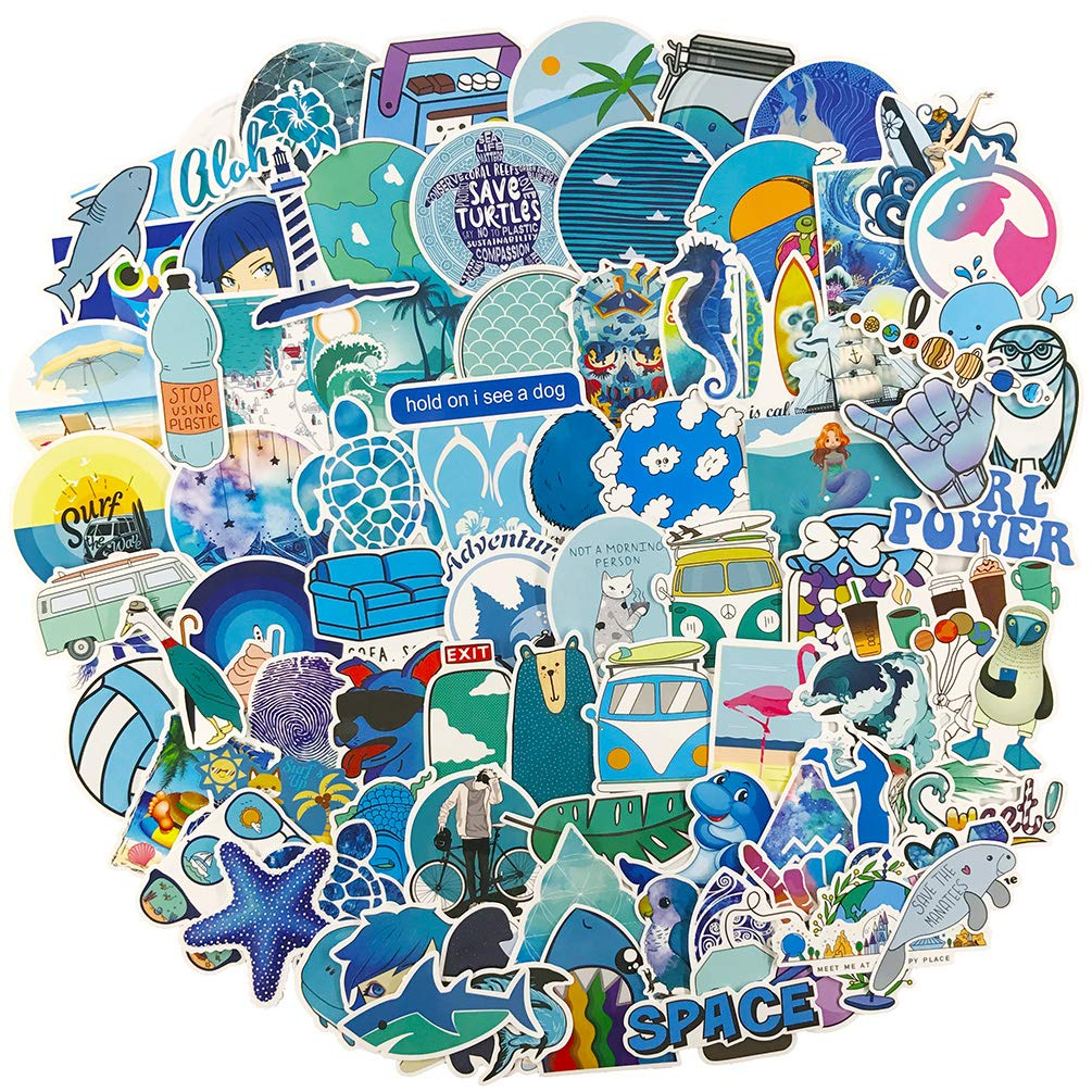 Blue Stickers for Water Bottle, Big 100-Pack Cute Vinyl Waterproof Trendy Sticker for Teen Girl, Fashion Aesthetic Durable Decal for Laptop Phone Travel Case Skateboard Computer Guitar