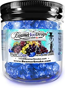Triple Grape 250G Ultra Premium Beamer Ice Drops Hookah Shisha Smoking Gel. Each Bowl Lasts 2-4 Hours! USA Made, Huge Clouds, Amazing Taste! Better Taste & Clouds Than Tobacco!