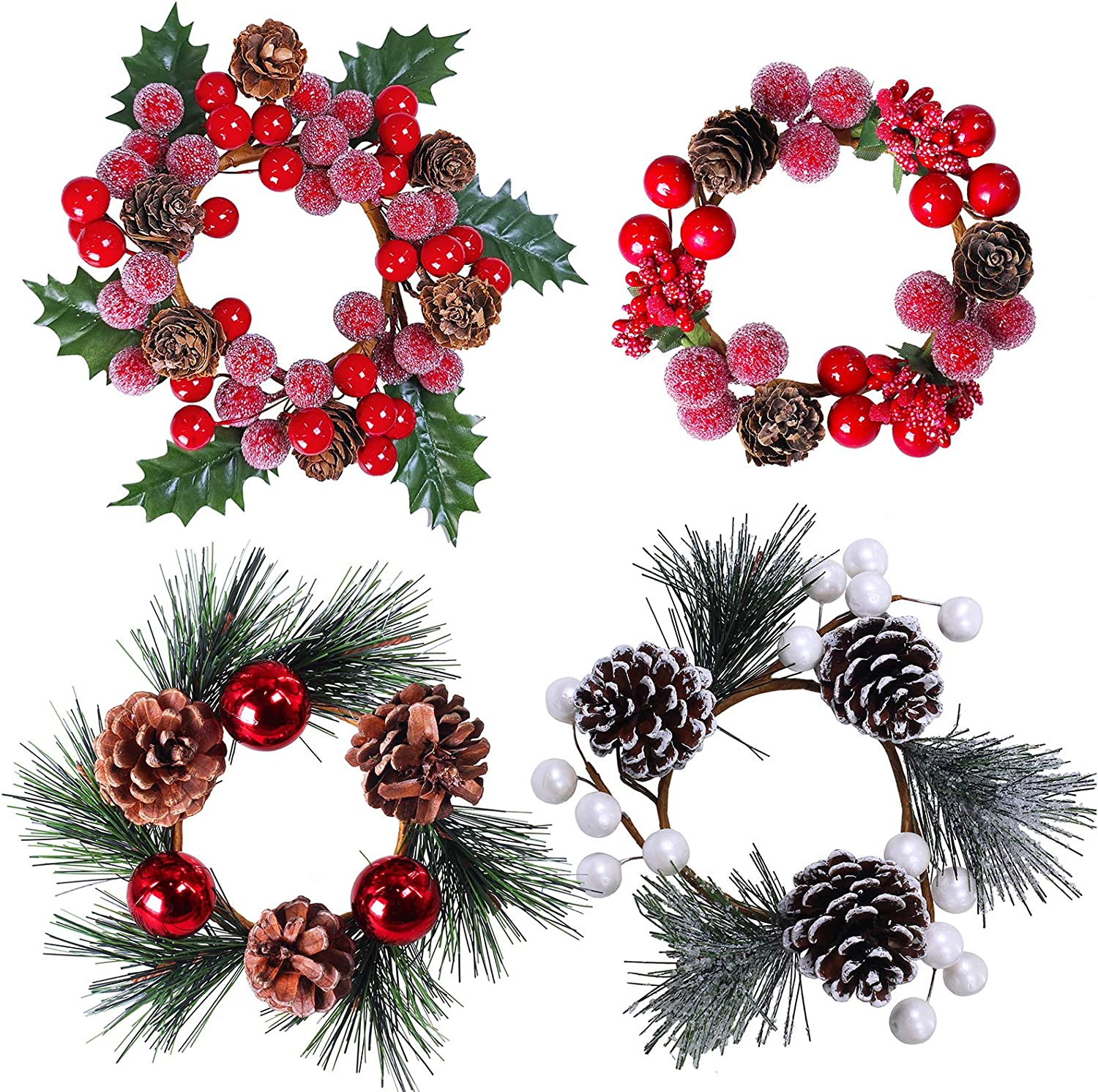 Set of 4 Christmas Candle Holder Rings Assortment Artificial Pine Cone and Berry Candle Rings Candle Wreath Rings Mini Wreaths with Pine Needles Holly Leaves Red Balls for Christmas Winter Decoration