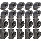 Brooklyn Pipe 3/4 Inch Elbow Tee Combo Pack (10 Elbows, 10 Tees) Threaded Pipe, 90 Degree Pipe Elbow Tee Decorative Iron Pipi