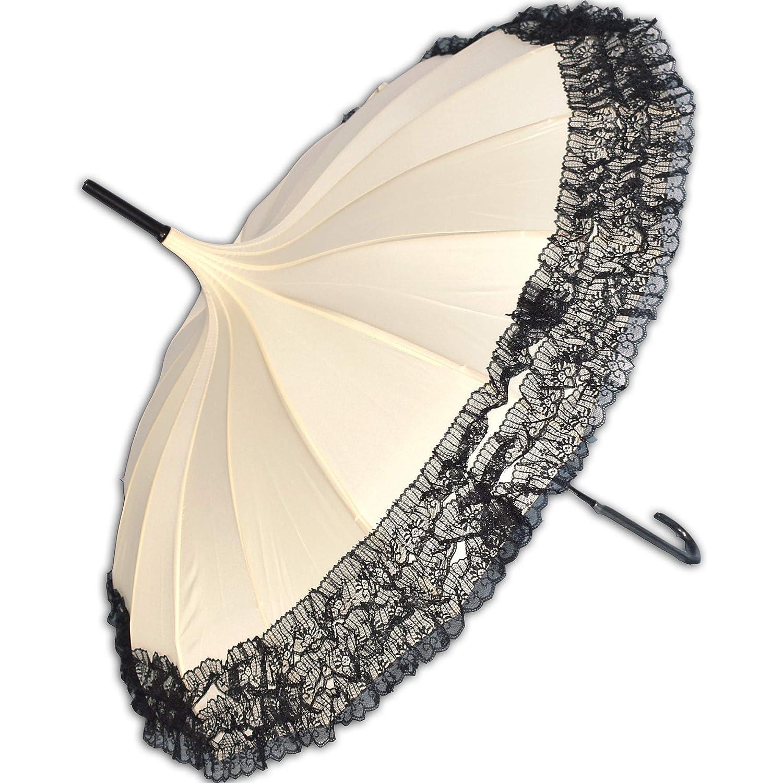 Traumhafter Gothic Regenschirm mit Spitze und Pagodendach (beige)