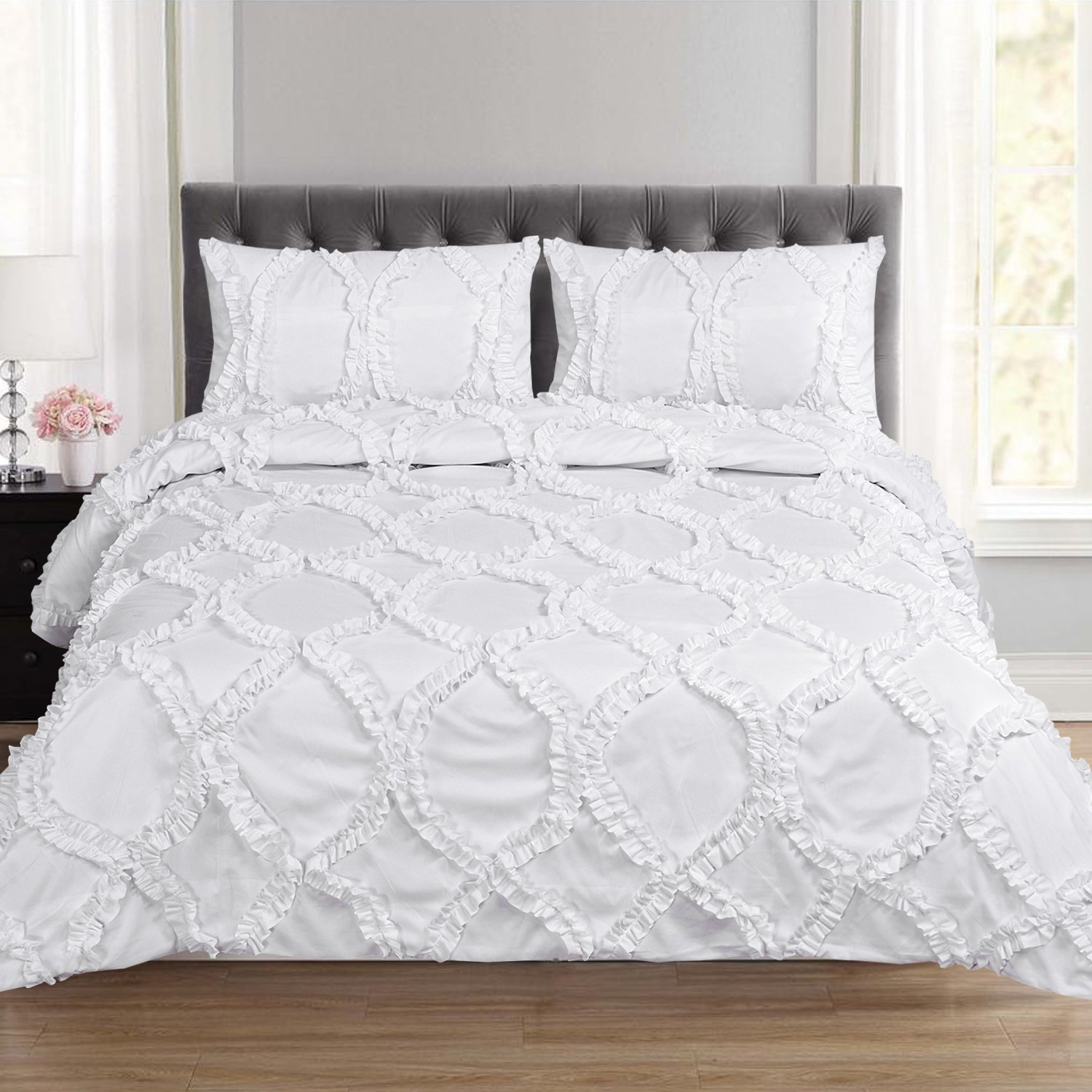 Sweet Home Collection FNCYDVT-TATI-KNG-WHT Tatiana Fancy Duvet Cover 3 Piece Set With Pillow Shams Unique Stylish Fashion Designs, King, White