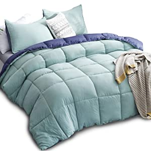 KASENTEX All Season Down Alternative Quilted Comforter Set with Sham(s) -Reversible Ultra Soft Duvet Insert Hypoallergenic Machine Washable, Queen, Turquoise Sea Green/Twilight Blue
