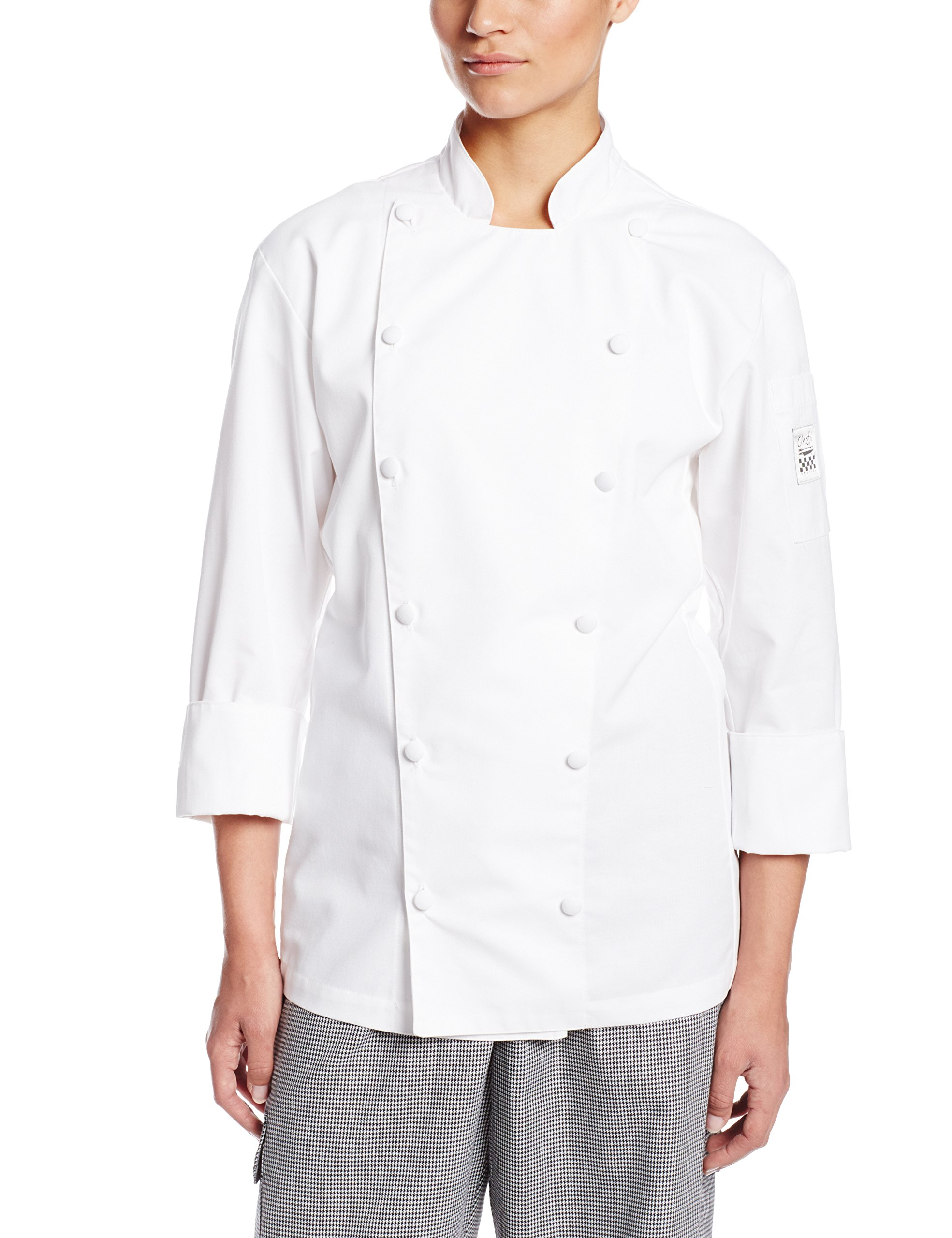 Chef Revival LJ025 Chef-Tex Poly Cotton Ladies Cuisinier Long Sleeve Jacket with Cloth Covered Button, 2X-Large, White by Chef Revival