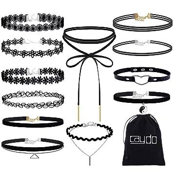 33d075581faf caydo 12 piezas Negro Gargantilla de encaje collar de gargantilla tatuaje  collar para las mujeres y las niñas  Amazon.es  Juguetes y juegos