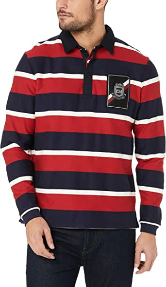 Tommy Hilfiger Men's Herringbone Textured Rugby Sweater