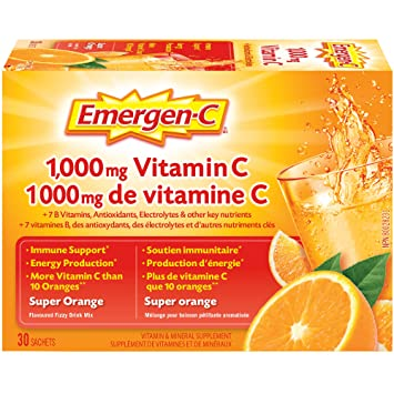 Emergen-C® Super Orange (30 Count), 1000mg Vitamin C / Electrolytes / B  Vitamins Mineral Supplement