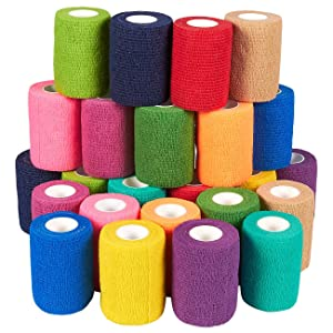 Juvale Self Adherent Wrap - 24 Pack of Cohesive Bandage Medical Vet Tape for First Aid, Sports, Wrist, Ankle in 12 Colors with 2 Rolls Each, 3 Inches x 5 Yards